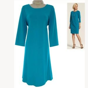 Chico's Size 2= Large/12▪️TEAL SEAMED PONTE DRESS